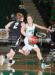 Troy Trojans guard Sophie Kleeman (2) and North Texas Mean Green guard Laura McCoy (4) in action during the game between the Troy Trojans and the University of North Texas Mean Green at the North Texas Coliseum,the Super Pit, in Denton, Texas. UNT defeats Troy 57 to 36.....