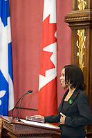 Quebec City, April 18, 2007 - Yolande James shows emotion as she is about to be sworn in as the immigration and cultural communities minister at the Red room of the National assembly in Quebec City April 18, 2007. James is the first member of a visible minority to be named minister in Quebec.<br /> <br /> PHOTO :  Francis Vachon - Agence Quebec Presse