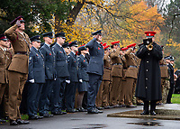 Pictured: A parade outside York Minster. Sunday 11 November 2018<br /> Re: Commemoration for the 100 years since the end of the First World War on Remembrance Sunday at York Minster, England, UK