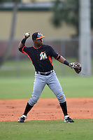 Miami Marlins third baseman Christian Rivera (9) during a minor league spring training game against the New York Mets on March 28, 2014 at the Roger Dean Stadium Complex in Jupiter, Florida.  (Mike Janes/Four Seam Images)