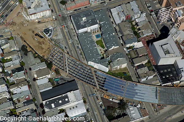 aerial photograph of the construction of the highway 101 off ramp in Hayes Valley, San Francisco, California, 2005