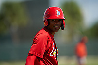 GCL Cardinals Yowelfy Rosario (11) during a Gulf Coast League game against the GCL Astros on August 11, 2019 at Roger Dean Stadium Complex in Jupiter, Florida.  GCL Cardinals defeated the GCL Astros 2-1.  (Mike Janes/Four Seam Images)