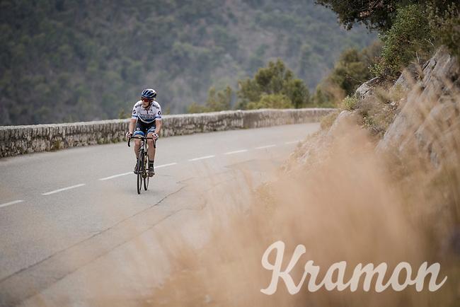 european champion Matteo Trentin (ITA/Mitchelton Scott) on the attack<br /> <br /> Stage 8: Nice to Nice (110km)<br /> 77th Paris - Nice 2019 (2.UWT)<br /> <br /> ©kramon
