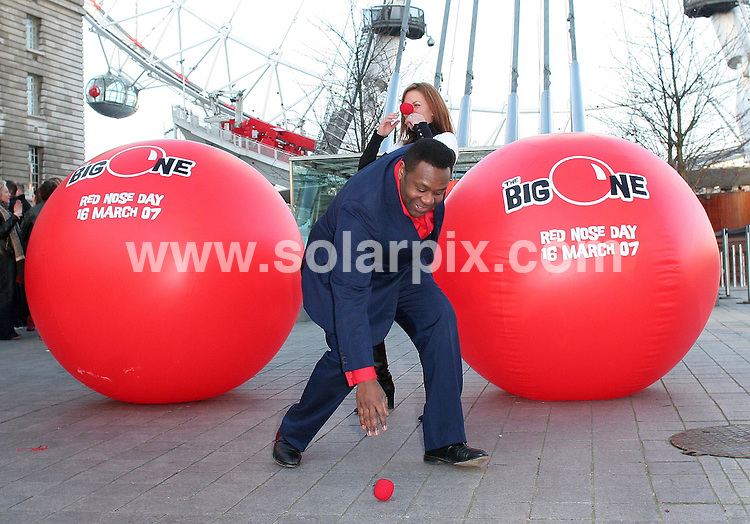 ALL ROUND PICTURES FROM SOLARPIX.COM.WORLDWIDE SYNDICATION RIGHTS..Comic Relief launch Red Nose Day 2007 with the help of Girls Aloud and The Sugababes at the London Eye on 31.01.07..This pic:..DATE: 31.01.07-JOB REF: 3296-SSD.**MUST CREDIT SOLARPIX.COM OR DOUBLE FEE WILL BE CHARGED**