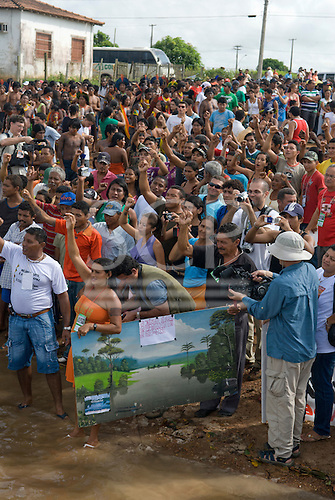 "Altamira, Brazil. ""Xingu Vivo Para Sempre"" protest meeting about the proposed Belo Monte hydroeletric dam and other dams on the Xingu river and its tributaries. Riverine communities against the dams."