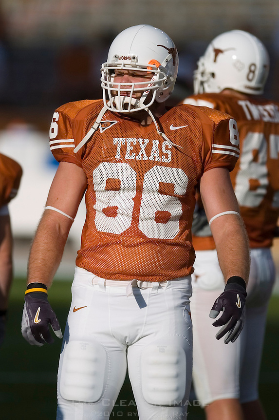 30 September 2006: Texas tight end Peter Ullman warms up prior to the Longhorns 56-3 victory over the Sam Houston State Bearkats at Darrell K Royal Memorial Stadium in Austin, TX.