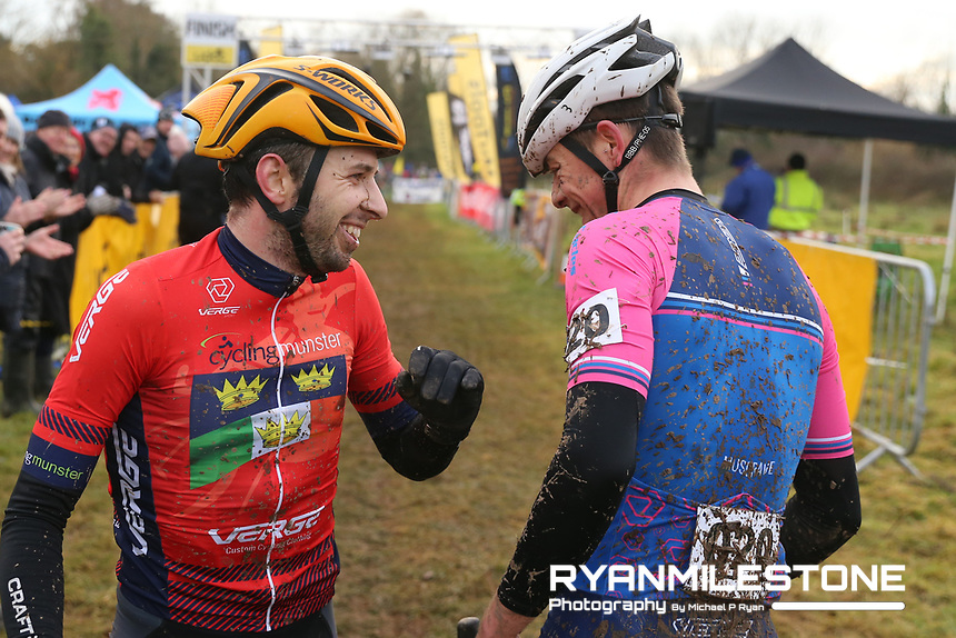 EVENT:<br /> Round 5 of the 2019 Munster CX League<br /> Drombane Cross<br /> Sunday 1st December 2019,<br /> Drombane, Co Tipperary<br /> <br /> CAPTION:<br /> Richard Barry of St Finbarrs CC with Dillon Corkery of Verge Sport PI Cycles following the A Race - Senior<br /> <br /> Photo By: Michael P Ryan