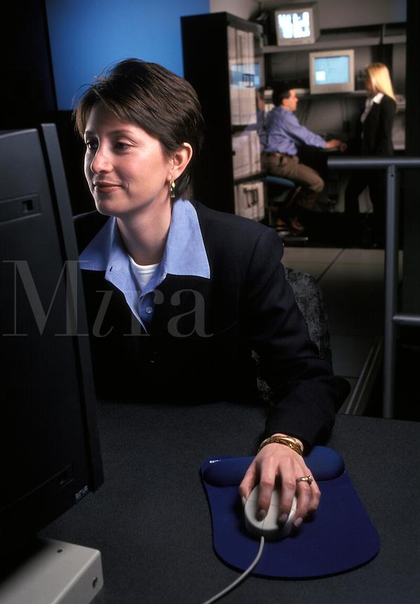 woman at computer workstation
