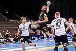 Julius Kuehn (Deutschland #35) ; Karl Toom (Estland #19) ; Kristo Voika (Estland #47) ; EHF EURO-Qualifikation / EM-Qualifikation / Handball-Laenderspiel: Deutschland - Estland am 02.05.2021 in Stuttgart (PORSCHE Arena), Baden-Wuerttemberg, Deutschland.<br /> <br /> Foto © PIX-Sportfotos *** Foto ist honorarpflichtig! *** Auf Anfrage in hoeherer Qualitaet/Aufloesung. Belegexemplar erbeten. Veroeffentlichung ausschliesslich fuer journalistisch-publizistische Zwecke. For editorial use only.