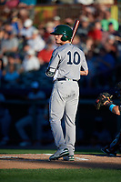 Vermont Lake Monsters designated hitter Anthony Churlin (10) at bat during a game against the Tri-City ValleyCats on June 16, 2018 at Joseph L. Bruno Stadium in Troy, New York.  Vermont defeated Tri-City 6-2.  (Mike Janes/Four Seam Images)