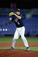 Trenton Sawyer (5) of Perquimans County High School in Hertford, NC during the Atlantic Coast Prospect Showcase hosted by Perfect Game at Truist Point on August 22, 2020 in High Point, NC. (Brian Westerholt/Four Seam Images)