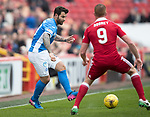Aberdeen v St Johnstone…29.04.17     SPFL    Pittodrie<br />Richie Foster and Adam Rooney<br />Picture by Graeme Hart.<br />Copyright Perthshire Picture Agency<br />Tel: 01738 623350  Mobile: 07990 594431