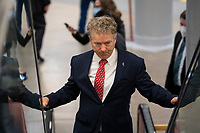 "UNITED STATES - February 9: Sen. Rand Paul, R-Ky.,  makes his way through the Senate subway on the first day of former President Donald Trump's second impeachment trial at the U.S. Capitol in Washington on Tuesday, Feb. 9, 2021. Trump is charged with ""incitement of insurrection"" after his supporters stormed the Capitol in an attempt to overturn November's election result.<br /> CAP/MPI/RS<br /> ©RS/MPI/Capital Pictures"