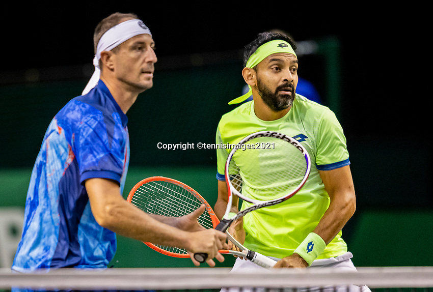 Rotterdam, The Netherlands, 28 Februari 2021, ABNAMRO World Tennis Tournament, Ahoy, Qualyfying doubles match:  Divij Sharan (IND) (R) and Igor Zelenay (SVK)<br /> Photo: www.tennisimages.com/henkkoster