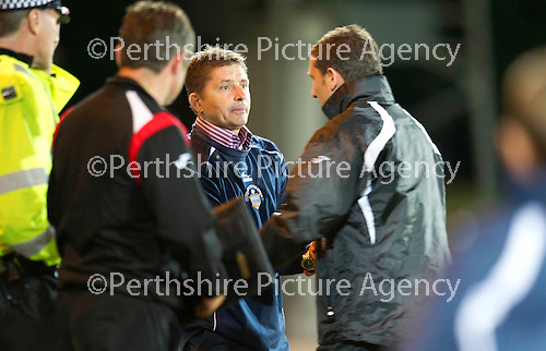 St Johnstone v Morton..24.08.10  CIS Cup Round 2.Allan Moore and Derek McInnes at full time.Picture by Graeme Hart..Copyright Perthshire Picture Agency.Tel: 01738 623350  Mobile: 07990 594431