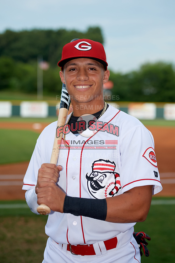 Greeneville Reds Brian Rey (6) poses for a photo before a game against the Pulaski Yankees on July 27, 2018 at Pioneer Park in Tusculum, Tennessee.  Greeneville defeated Pulaski 3-2.  (Mike Janes/Four Seam Images)