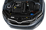Car Stock 2017 Skoda Octavia Style 5 Door Wagon Engine  high angle detail view