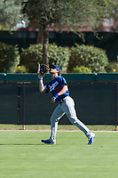 Los Angeles Dodgers outfielder Andrew Shaps (27) prepares to catch a fly ball during an Instructional League game against the Oakland Athletics at Camelback Ranch on September 27, 2018 in Glendale, Arizona. (Zachary Lucy/Four Seam Images)
