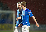 St Johnstone v Hibernian...26.11.11   SPL .Dave Mackay all smiles with Liam Craig at full time after Mackay's free kick made it 3-1.Picture by Graeme Hart..Copyright Perthshire Picture Agency.Tel: 01738 623350  Mobile: 07990 594431