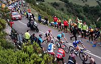 James Knox (GBR/Deceuninck-QuickStep), Luis Leon Sanchez (ESP/Astana) & Gianluca Brambilla (ITA/Trek-Segafredo) up the Alto de La Cubilla<br /> <br /> Stage 16: Pravia to Alto de La Cubilla. Lena (144km)<br /> La Vuelta 2019<br /> <br /> ©kramon
