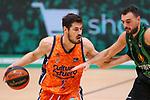 Liga ENDESA 2020/2021. Game: 11.<br /> Club Joventut Badalona vs Valencia Basket: 80-91.<br /> Albert Ventura vs Nikola Kalinic.