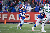 Buffalo Bills Matt Darr (8) punts during an NFL football game against the New York Jets, Sunday, December 9, 2018, in Orchard Park, N.Y.  (Mike Janes Photography)