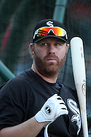 Chicago White Sox first baseman Adam Dunn #32 before a game against the Los Angeles Angels at Angel Stadium on August 23, 2011 in Anaheim,California. Los Angeles defeated Chicago 5-4.(Larry Goren/Four Seam Images)