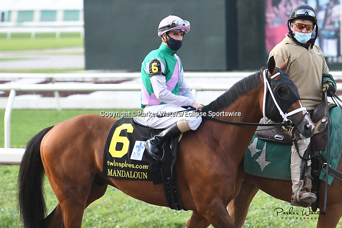 March 20, 2021: Mandaloun in the  Louisiana Derby at Fair Grounds Race Course in New Orleans, Louisiana. Parker Waters/Eclipse Sportswire/CSM