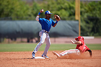 Toronto Blue Jays second baseman Samad Taylor (20) throws to first base as Matt Vierling (24) slides in during a Minor League Spring Training game against the Philadelphia Phillies on March 29, 2019 at the Carpenter Complex in Clearwater, Florida.  (Mike Janes/Four Seam Images)