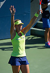 Angelique Kerber (GER) during the final against Karolina Pliskova (CZE) at the Bank of the West Classic in Stanford, CA on August 9, 2015. Kerber won her first Bank of the West Classic after defeating Plliskova by 63 57 64.