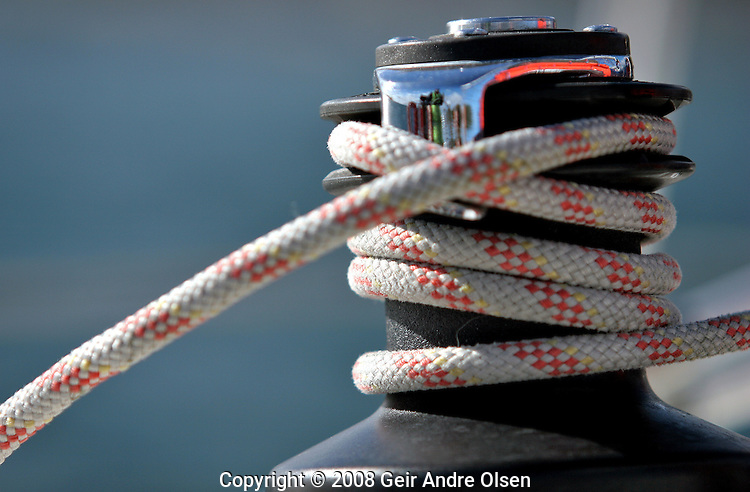 Details from a sailboat, ropes and vinsj