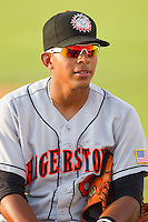 Adrian Sanchez #6 of the Hagerstown Suns during the game against the Kannapolis Intimidators at Fieldcrest Cannon Stadium on May 31, 2011 in Kannapolis, North Carolina.   Photo by Brian Westerholt / Four Seam Images
