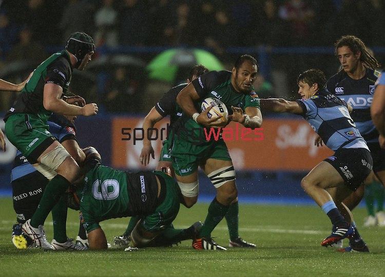 Connacht number 8 George Naoupu bursts through the Blues defence.<br /> RaboDirect Pro 12<br /> Cardiff Blues v Connacht<br /> Cardiff Arms Park<br /> 13.09.13<br /> <br /> ©Steve Pope-SPORTINGWALES