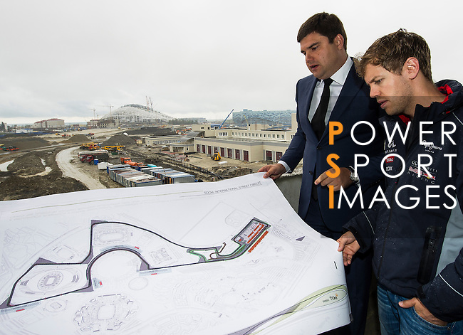 Formula One Triple World Champion Sebastian Vettel of Germany becomes first driver to sample the new Grand Prix venue at Sochi Olympic Park on 22 April 2013 in Sochi, Russia. Photo by Victor Fraile / The Power of Sport Images
