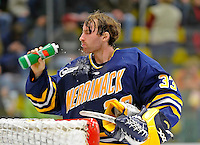 16 February 2008: Merrimack College Warriors' goaltender Andrew Braithwaite, a Sophomore from Kingston, Ontario, takes a breather during second period action against the University of Vermont Catamounts at Gutterson Fieldhouse in Burlington, Vermont. The Catamounts defeated the Warriors 2-1 for their second win of the 2-game weekend series...Mandatory Photo Credit: Ed Wolfstein Photo