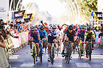 Top three sprint to the line, Lotta Lepistö (FIN) Trek Segafredo, Maria Giulia Confalonieri (ITA) Valcar–Cylance and Elena Cecchini (ITA) Canyon–SRAM at the end of Stage 2 of the Setmana Ciclista Valenciana 2019, running 100 km from Borriol to Vila-Real, Spain. 22nd February 2019.  <br /> Picture: Trek/Sean Robinson/Velofocus | Cyclefile<br /> <br /> <br /> All photos usage must carry mandatory copyright credit (© Cyclefile | Trek/Sean Robinson/Velofocus)
