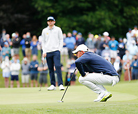 2nd July 2021; Mount Juliet Golf Club, Kilkenny, Ireland; Dubai Duty Free Irish Open Golf, Day Two; Rory Mcilroy of Northern Ireland lines up his putt on the 10th green