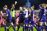 Laura De Neve (8) of Anderlecht pictured celebrating with teammates after scoring a goal and receiving a yellow card after removing her shirt during a female soccer game between RSC Anderlecht Dames and Sporting Charleroi on the 13 th matchday of the 2020 - 2021 season of Belgian Womens Super League , friday 5 th of February 2021  in Tubize , Belgium . PHOTO SPORTPIX.BE | SPP | DAVID CATRY
