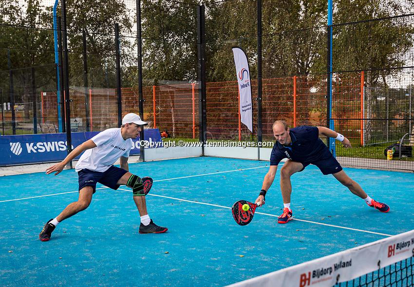 Netherlands, September 5,  2020, Amsterdam, Padel Dam, NK Padel, National Padel Championships,  Tiemen van Ingen (NED) and Stijn Simons (NED)<br /> Photo: Henk Koster/tennisimages.com