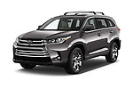 2018 Toyota Highlander Limited-Platinum 5 Door SUV Angular Front stock photos of front three quarter view