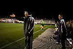 """March 14, 2009. Cary, NC.. The Carolina Railhawks went home in foul weather with a  1-0 victory over the New England Revolution of the MLS, in the inaugural """"Community Shield"""" match and their first professional outing under new coach, Martin Rennie. . Head coach Martin Rennie, left."""