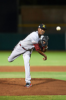 Salt River Rafters pitcher Myles Smith (52) delivers a pitch during an Arizona Fall League game against the Scottsdale Scorpions on October 14, 2015 at Scottsdale Stadium in Scottsdale, Arizona.  Scottsdale defeated Salt River 13-3.  (Mike Janes/Four Seam Images)