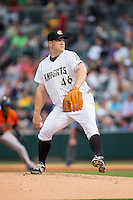 Charlotte Knights starting pitcher Brad Penny (46) in action against the Norfolk Tides at BB&T BallPark on April 9, 2015 in Charlotte, North Carolina.  The Knights defeated the Tides 6-3.   (Brian Westerholt/Four Seam Images)