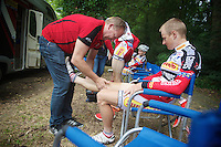 Kevin Pauwels (BEL/Sunweb-Napoleon Games) massaged before the start<br /> <br /> Ster ZLM Tour<br /> stage 3: Buchten-Buchten (190km)
