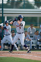 Detroit Tigers left fielder Kingston Liniak (9) at bat during a Florida Instructional League game against the Pittsburgh Pirates on October 2, 2018 at the Pirate City in Bradenton, Florida.  (Mike Janes/Four Seam Images)