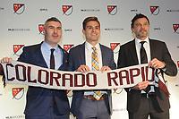 Philadelphia, PA - Thursday January 19, 2018: Padraig Smith, Alan Winn, Anthony Hudson during the 2018 MLS SuperDraft at the Pennsylvania Convention Center.