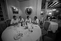Tour de France 2012.Lotto-Belisol team .late dinner..