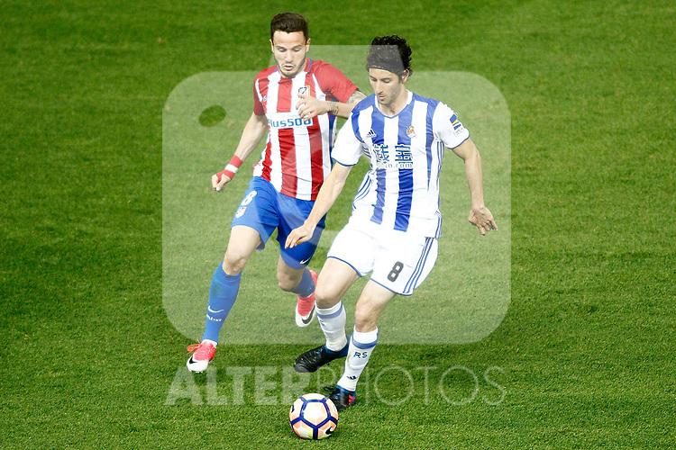 Atletico de Madrid's Saul Niguez (l) and Real Sociedad's Esteban Granero during La Liga match. April 4,2017. (ALTERPHOTOS/Acero)