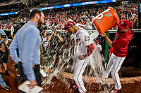 21 May 2018: Washington Nationals outfielder Juan Soto is doused with water giving a post-game interview after making his first Major League start against the San Diego Padres at Nationals Park in Washington, DC. The 19 year-old Soto hit a 3-run home run on the first pitch he faced as the Nationals defeated the Padres 10-2, taking the first game of their 3-game series. Mandatory Credit: Ed Wolfstein Photo *** RAW (NEF) Image File Available ***