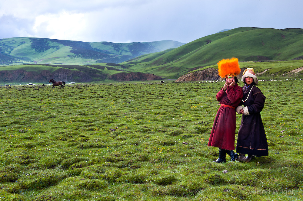 Tibet, Kham, Litang.Tibet, Kham - Thuma Tibetan nomad girl in Degang Valley, near Litang. Orange hat people. Nomads being forced to move from tents to concrete homes.